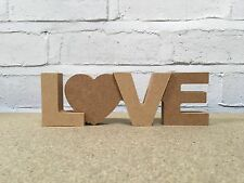 'LOVE' word art. MDF 18mm thick + 2x 3mm thick extra letters. DIY wooden craft