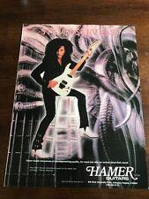 """1990 VINTAGE 8X11 PRINT Ad FOR HAMER GUITARS STEVE STEVENS """"ATOMIC PLAYBOYS"""""""
