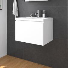 600x450mm Bathroom Vanity Basin Cabinet Unit Wall Hung Finger Pull Storage White