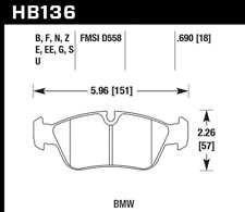 Hawk Disc Brake Pad Front for BMW 318i, 318is, 318ti, 325Ci / HB136E.690