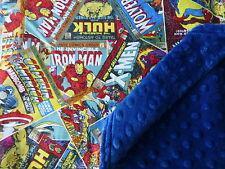 Marvel Avengers Comic Books*Spiderman*Cpt America fabric/Navy Minky Baby Blanket
