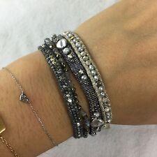 NEW CHAN LUU Silver Pearl & Pyrite Multi Strand Ribbon Seed Bead Bracelet $155