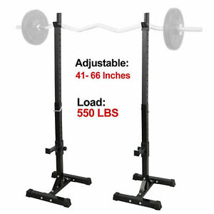 2pcs Adjustable Rack Standard Squat Steel Stands Barbell Free Press Bench Home