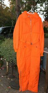 Coveralls X LG  Orange Vintage Hunting Skiing Belted Jumpsuit Hollofil 808 USA