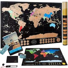 "Gold Scratch Off Map of The World 32x23"" Travel Art Poster Landmark Tracker NEW"