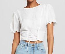 NWT XHILARATION Juniors/Women's Short Sleeve Top w/Corset Detail-'Linen White' L