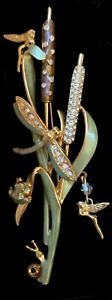 Vintage Kirks Folly Enamel Cattail Fairy Dragonfly Brooch - Magnificent!