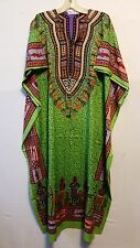 Women dashiki Print Kaftan Caftan Hippie With Drawstring Waist Green Free Size