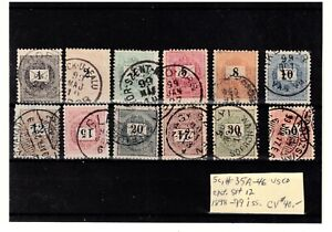 Hungary 1898-99 issue stamps, complete set of 12. Hard to find!