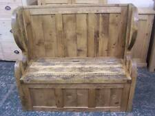 VERY RUSTIC OLD PINE CHUNKY MONKS SETTLE HALL BENCH WITH ARMS  MADE TO ANY SIZE
