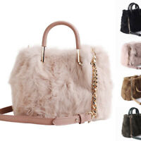 Real Rabbit Fur Small Mini Boston Bag Crossbody Bag Chain Purse Grab Bag Handles