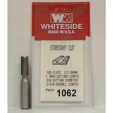 """WHITESIDE 1062  2 Flute Straight Bit, 3/8 Dia, 1"""" Cut Length, 1/2 Shank"""