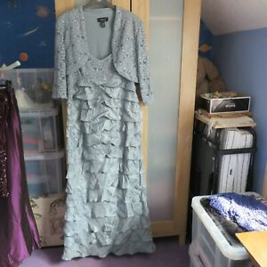 R&M Richards, Teal Evening Dress & Jacket set size 16