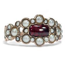 dated 1817: Antique Gold Ring with Garnet & Pearls, trauerschmuck/Georgian