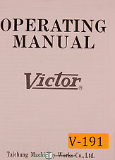 Victor 1640, 1660 1680 2040 2060 2080, Lathe, Operations and Parts Manual 1978