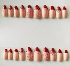 hand painted false nails, Short Stiletto, Sold With Glue Or Adhesive Stickers