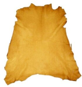 Reduced $ - Golden Yellow Crafting Goatskin Leather Hide Goat Skin w/ Character
