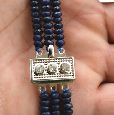 NATURAL Brazil 3 Rows 2X4mm FACETED DARK Blue Sapphire BEADS NECKLACE 17-18""