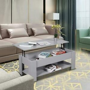 Grey Wooden Coffee Table With Lift Up Top Storage Area and Magazine Shelf