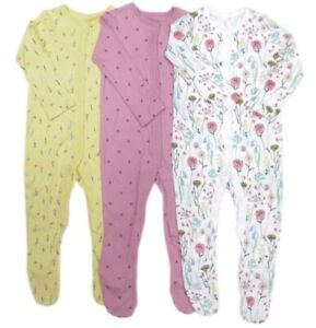 Ex F & F Baby Girl 3 Pack Pink Yellow Bee Floral Flower Sleepsuits  9 12 18 24