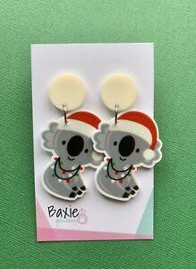 Christmas Earrings, Xmas, Surgical Steel Stud, Cream Acrylic, Animal, Koala