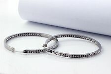 """JP Passion 2"""" 316L Stainless Steel Shine Inside-Out Hoop Earrings With AAA CZ"""
