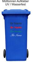 Mülltonnen Aufkleber mit Ihren Namen 60 farben schriftauswahl Mülleimer 30cm