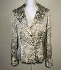 NWT - Ann Taylor Blazer Jacket, Size 12, Beige Lined 2-Button Closure Tapestry
