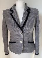 Stunning Navy & White ARMANI JEANS Textured Amark Blazer Jacket Size UK 8