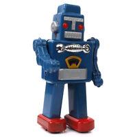 Blue Wind Up Walking ROBOT TOY Vintage Gift Mechanical clockwork Tin Toy