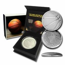 1 - 1 oz .999 Silver Round - Curved Domed 3D Round- Basketball w/Capsule and Box