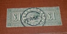 1884  Great Britain  1 POUND  STAMP, STUNNING CANCEL-JERSEY(Sock-on-Nose)