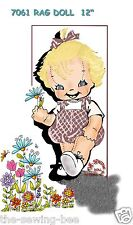 """Little Girl Rag Doll Pattern with Outfit 12"""" Vintage - 3 dimensional No. 7061"""