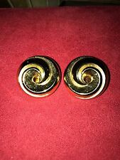 Vintage Christan Dior Swirl Gold Tone Clip On Earrings Career 1980's