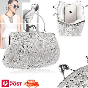 Party Purse beads Evening Bag Wedding Handbag Beaded Sequin Flower Clutch Metal