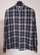 Jack & Jones De Cuadros Blanco Negro Premium Algodón camisa de mangas largas a Cuadros Ajuste M-L