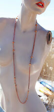VINTAGE COPPER PLATED LONG CHAIN BEAD NECKLACE • 42 inches • Made in Japan