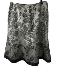 Ann Taylor 100% Silk Damask Jacquard Floral Pattern Flared Skirt Gray Sz 6 Small