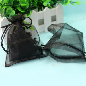 60x Organze Drawstring Gift Jewelry Bags Pouches Black For Wedding Party Hot