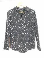 Kate Moss Equipment Shirt blouse top Sz S/P Black, white star print Silk