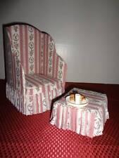 Santa Claus Chair Fabric Wing Back Chair Ottoman Cookies Milk Set