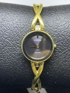Citizen Women's Eco-Drive Gold Tone Steel Bangle Watch EX1422-54E #C42
