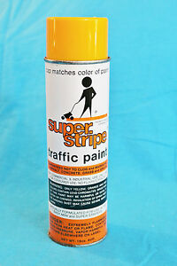 VINTAGE 1982 SUPER-STRIPE TRAFFIC PAINT- 18oz - YELLOW/ORANGE COLOR - FEELS FULL