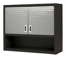 Metal Locking Wall Cabinet Tool Shop Garage Storage Shelf Red Heavy-Duty Steel