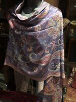 Vintage Style Knit Brocade Pashmina Paisley Scarf Wrap