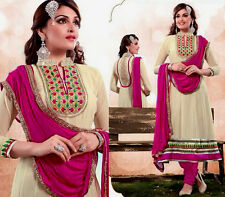 BEIGE GEORGET ANARKALI INDIAN SALWAR KAMEEZ SUIT PARTY DRESS MATERIAL LADIES DEN