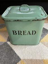 More details for vintage enamel bread bin 1950s 50s retro light green kitchenalia kitchen storage