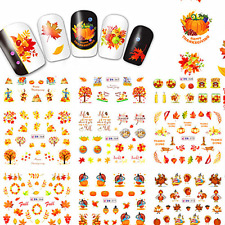12 Styles Nail Art Water Decal Thanksgiving Maple Leaf Transfer Sticker Tips zb2