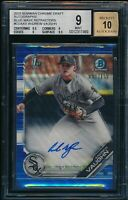 ANDREW VAUGHN AUTO 2019 Bowman Chrome BLUE WAVE REFRACTOR #/150 RC BGS 9/10 MINT