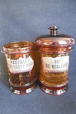 2 Pots à pharmacie anciens en cristal du 19ème siècle Ht.24cm / Médecine